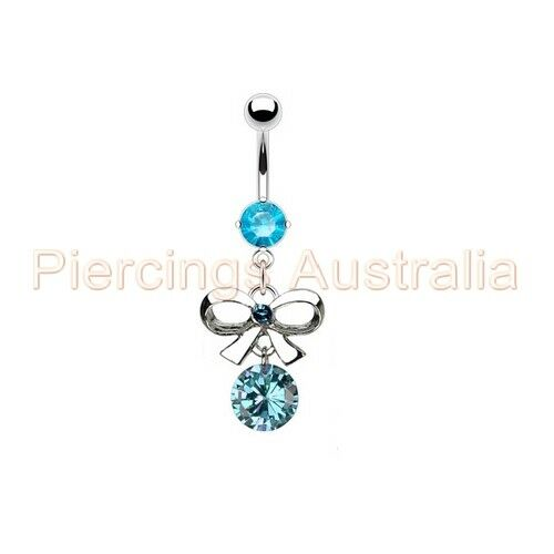 Gem Bow Tie Ribbon Belly Button Navel Ring Bar Dangle Body Piercing Jewellery