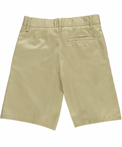 French Toast Big Boys/' Husky Flat Front Twill Shorts with Adjustable Waist