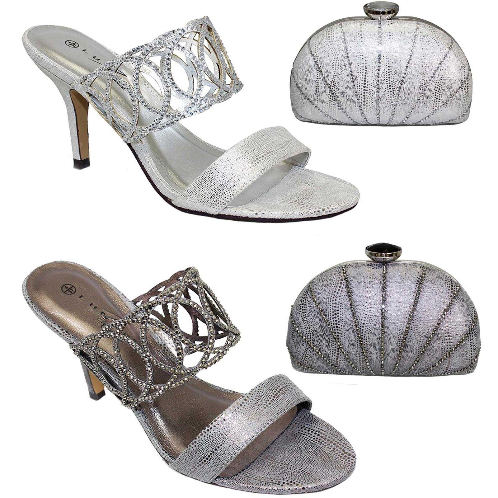 Flr356 Tatiana dames Soirée À Enfiler Strass Métallique mule talon haut chaussures