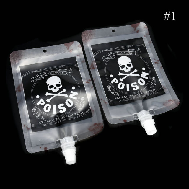50x Reusable Blood Drink Bags Halloween Pouch Props Party Vampire Cosplay Decor