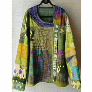 Women-Boho-Floral-V-Neck-Long-Lantern-Sleeve-Oversize-Blouse-T-Shirt-Tops