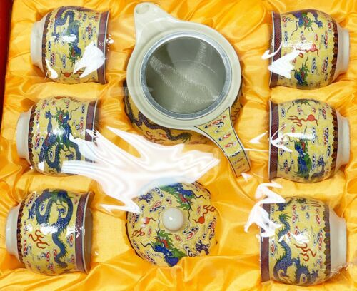 9 Pc Set Of Chinese Cersmic Teaset Yellow With Blue Dragon Graphics Drsign