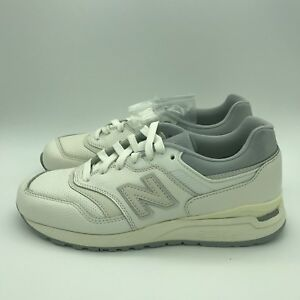 MENS NEW BALANCE 997 SZ 7 WHITE GREY REFLECTIVE LEATHER SNEAKERS ... a10da8512b