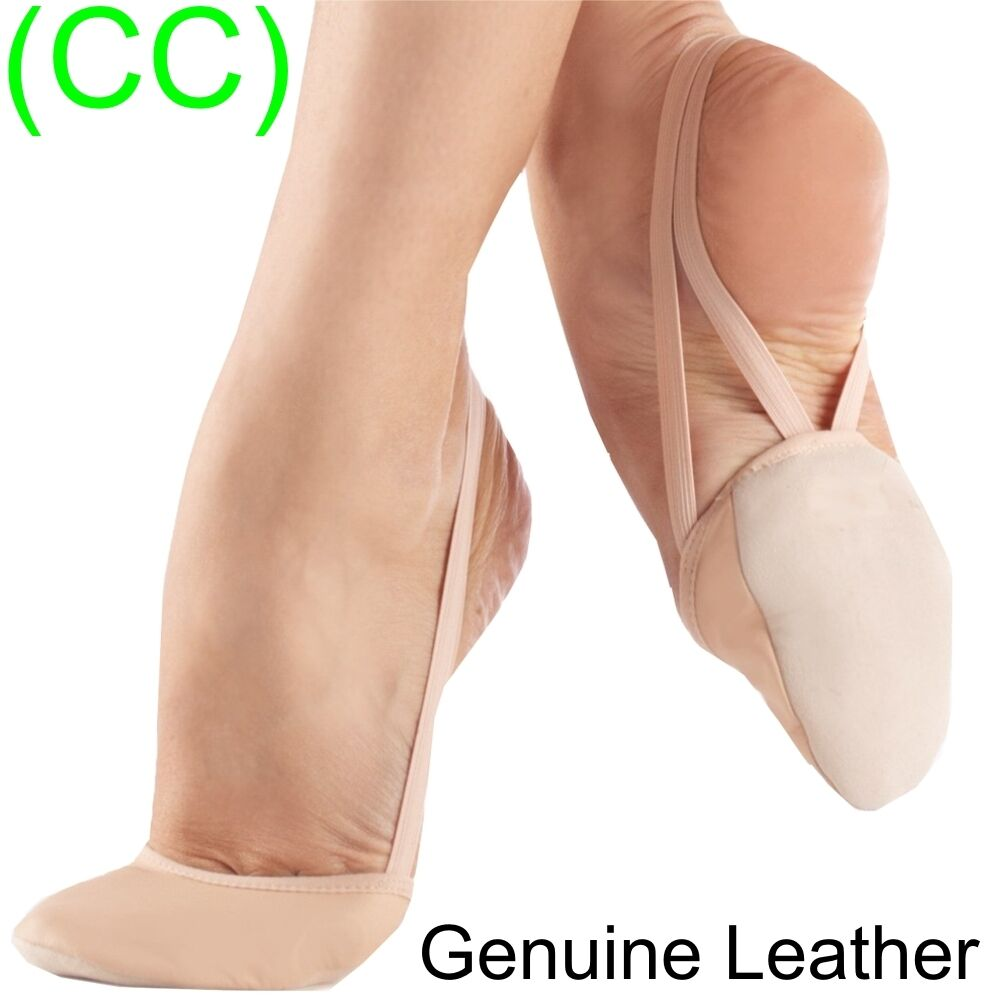 LEATHER Rhythmic Shoes Toe Half Gymnastics Pink Nude Lyrical Dance New (CC)