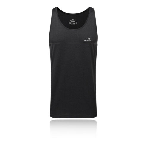RonHill Mens Everyday Vest Black Sports Gym Running Breathable Lightweight