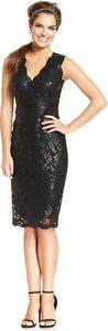 ADRIANNA PAPELL SLEEVELESS SEQUIN EMBROIDERED LACE BLACK SHEATH DRESS sz 2