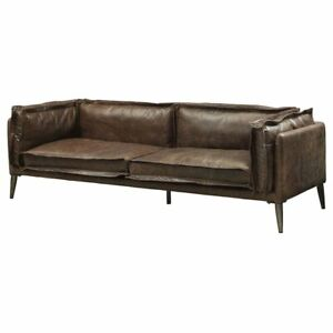 Genial Details About ACME Porchester Leather Sofa In Distress Chocolate