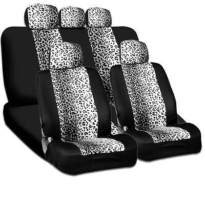New Design Safari Snow Leopard Print Universal Car Truck Seat Cover Smart Pocket