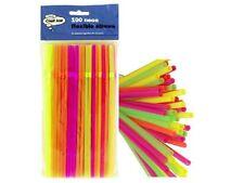 100 Qualità Neon Flessibile Bendy Festa di Compleanno BERE Cannucce colorate assortite