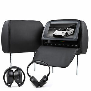 C1037-2x9-034-LCD-In-Car-Black-Pillow-Headrest-DVD-Player-Monitor-Hedphone-m1