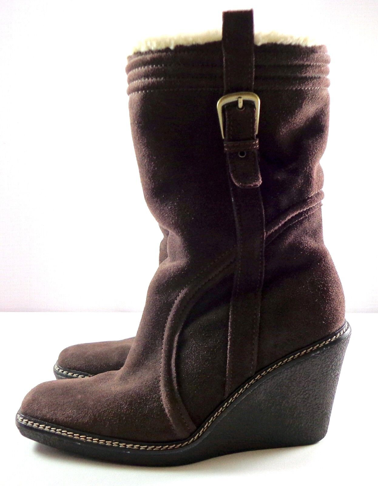 Cole Haan Boots Womens Mid-Calf Wedge Brown Suede Pull On Size 7.5 B