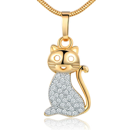 Lovely Dangle Kitty Cat Silver /& Gold Filled Pendentif Femmes Bijoux Collier Box