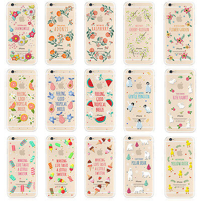 New Cute Pattern Clear TPU Back Soft Cover Case For Apple iphone 5 5S 6/6S Plus