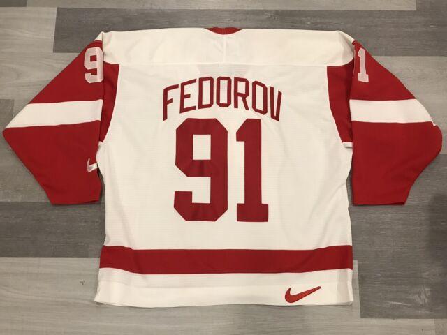 Nike Sergei Fedorov Detroit Red Wings White NHL Hockey Jersey Sz XXL