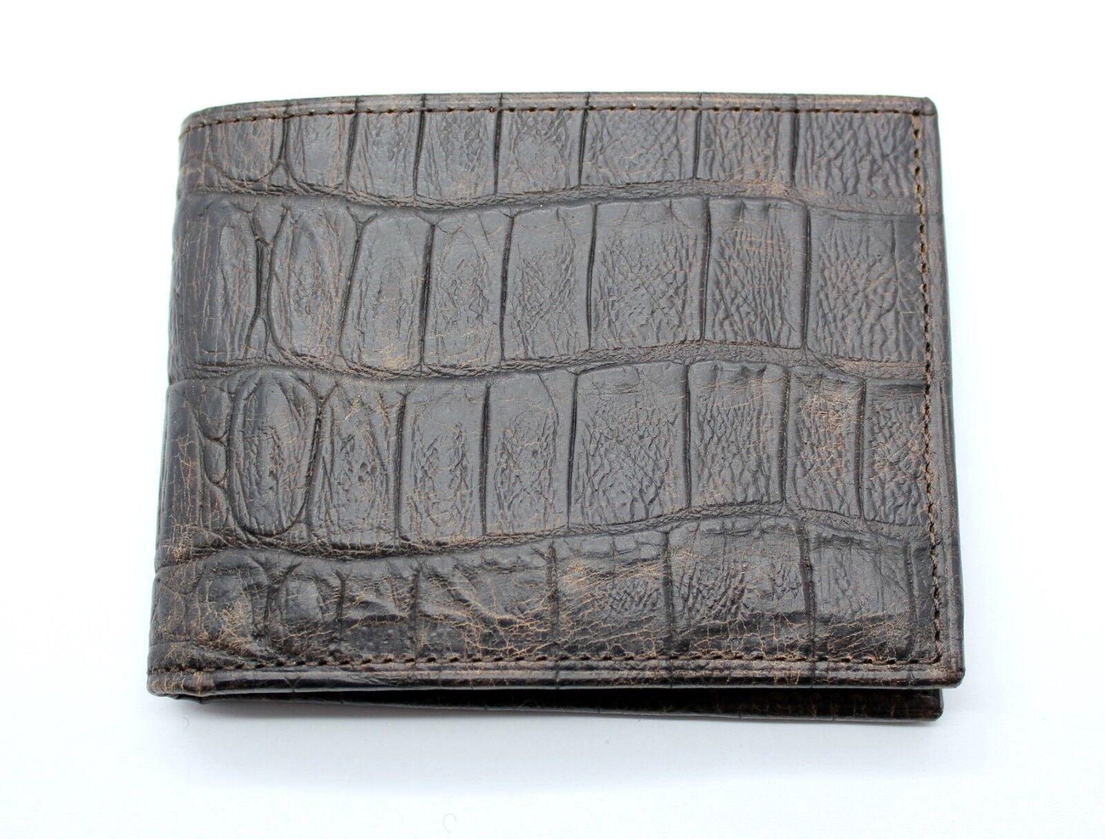 Dark Brown Genuine Leather with Crocodile Print Wallet