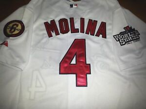 new product 0ddc6 1b2c4 Details about New! WHITE St. Louis Cardinals #4 Yadier Molina majestic WS  patch Jersey LG