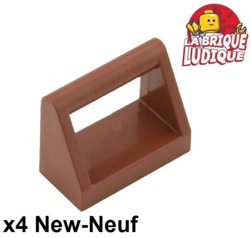 4x Tile Modified 1x2 dossier poignée handle marron//reddish brown 2432 NEW Lego
