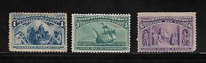 1893 UNITED STATES STAMPS UNUSED COLUMBIAN EXPOSITION 1C / 3C & 6C