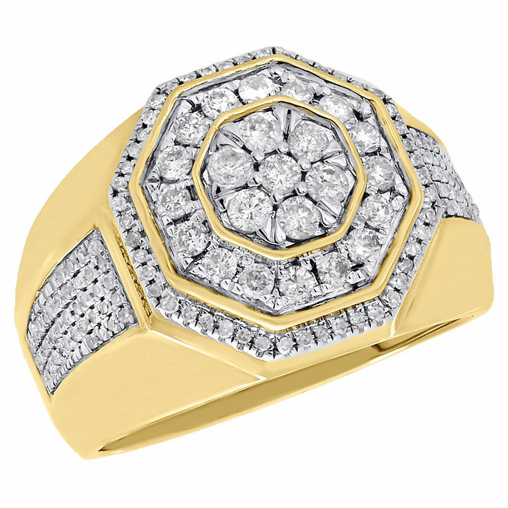 Yellow Gold Over Mens Round Diamond Wedding Engagement Pinky Ring Band 2.0Ct