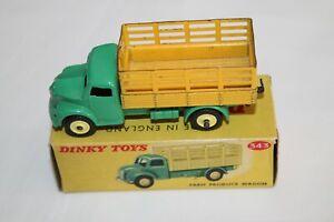 Dinky-Toys-343-productos-agricolas-Vagon-Verde-Amarillo-Raro-con-Limon-ruedas-de-plastico