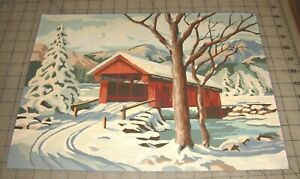 Vtg-16-034-x-12-034-Snowy-RED-Madison-County-Type-COVERED-BRIDGE-Paint-by-Number-PBN