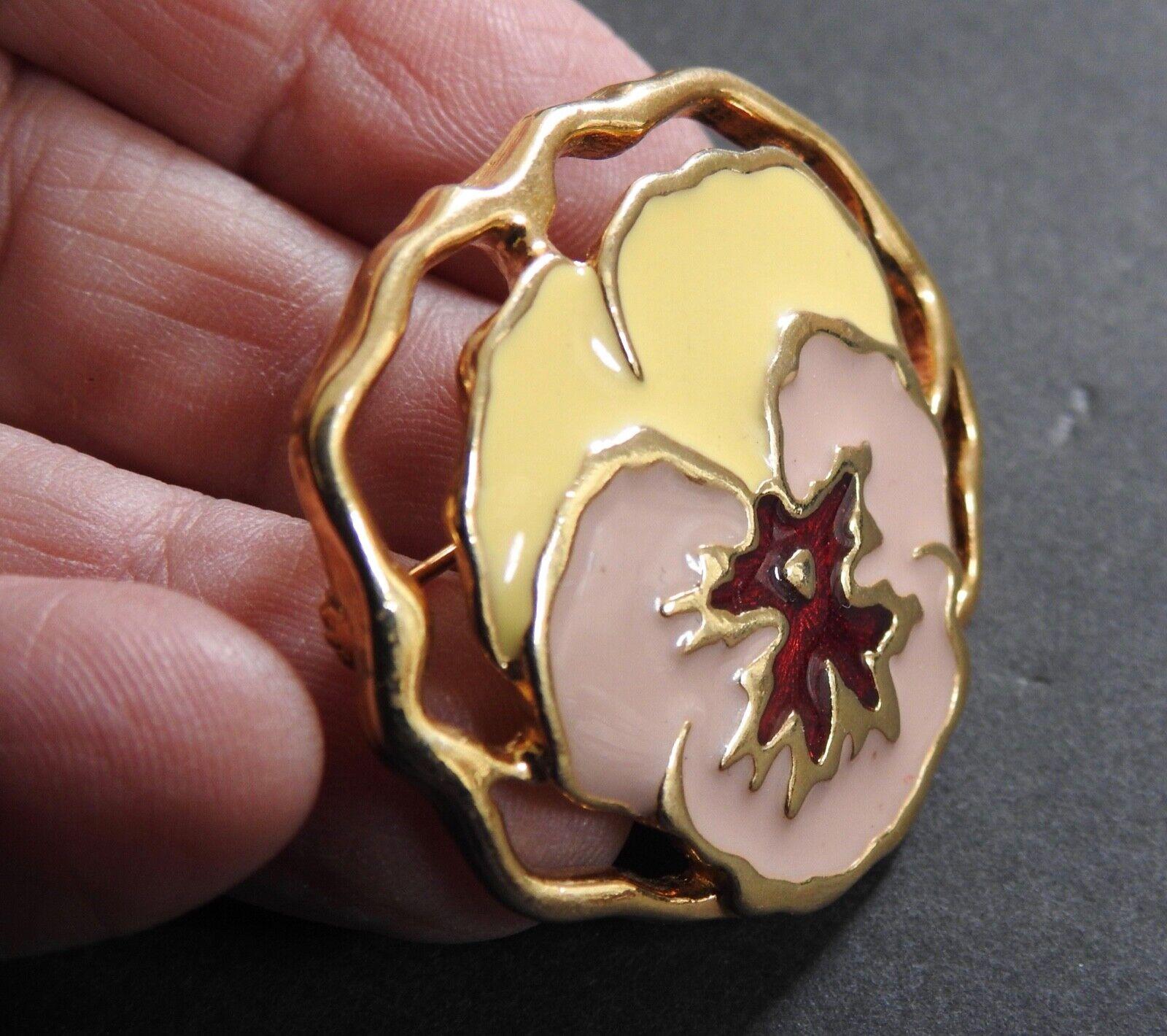 PANSY PIN enamel floral flower pin brooch goldton… - image 6