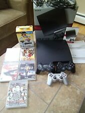 SONY PS3 PLAYSTATION SLIM 250GB CONSOLE IN BOX 6 GAMES BUNDLE MOVE 3 CONTROLLERS