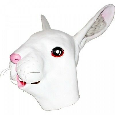Full RABBIT Mask Easter Bunny Latex Head Fur Furry Ears White Adult Costume NEW