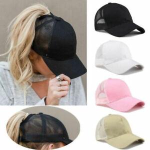Solid-Ponytail-Baseball-Cap-Women-Mesh-Bun-Baseball-Hat-Snapback-Sun-Sport-Caps