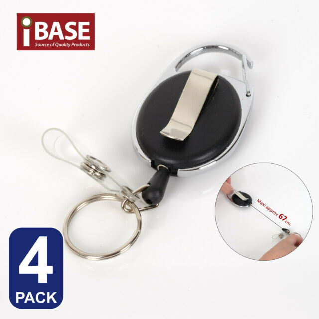 4x Retractable Recoil Key Ring Chain Pull Holder Reel Belt Clip Extend Keyring