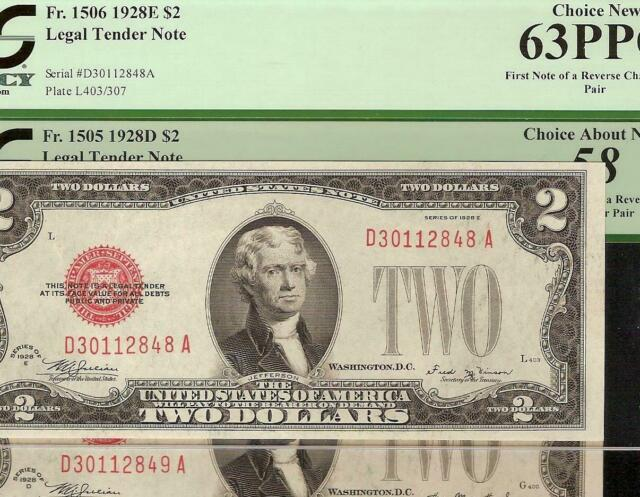 2 cons 1928-D to 1928-E $2 CHANGEOVER PAIR UNITED STATES LEGAL TENDER NOTES PCGS