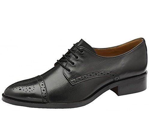 Ravel Unión Mujer Negro Cuero Calado Punta del del del ala Tribunal de Trabajo De Oficina Escuela Zapatos UK 3  ganancia cero