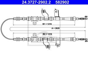 ATE 24.3727-2902.2 Seilzug Feststellbremse