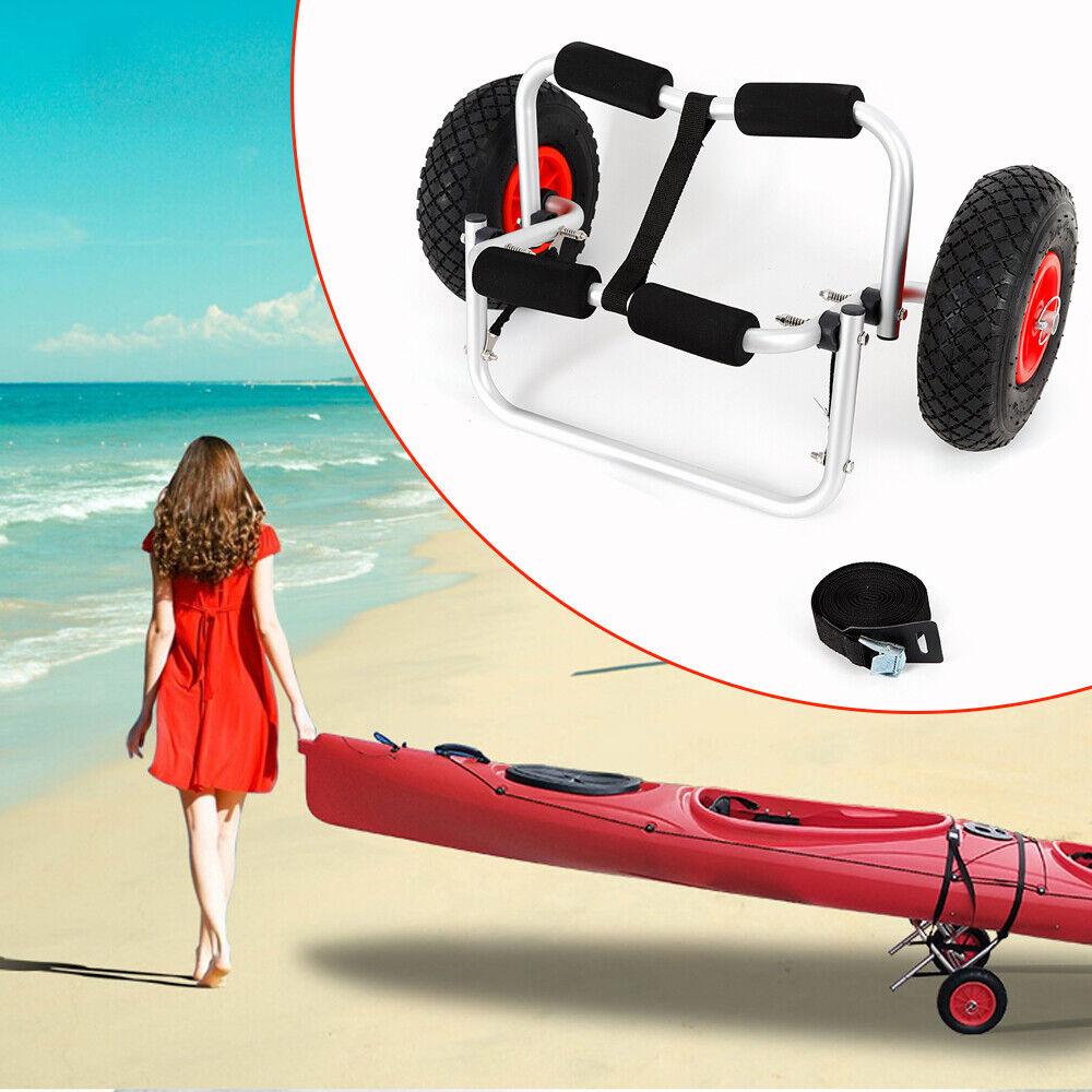 Anti-slip Aluminum Kayak Canoe Boat Trolley Carrier Dolly Transport Cart Wheels