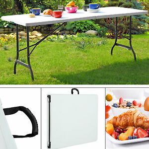 Table Pliante Camping 240 Cm Blanche Table de jardin d´appoint ...