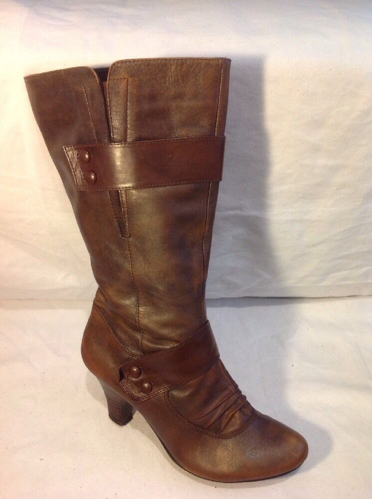 Wallis Brown Mid Calf Leather Boots Size 40