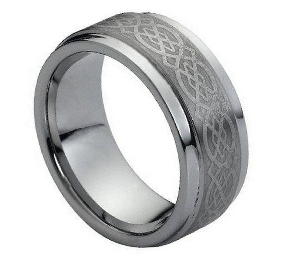 9mm Tungsten Wedding Ring, Personalize Celtic Knot Tungsten Ring-FREE ENGRAVING