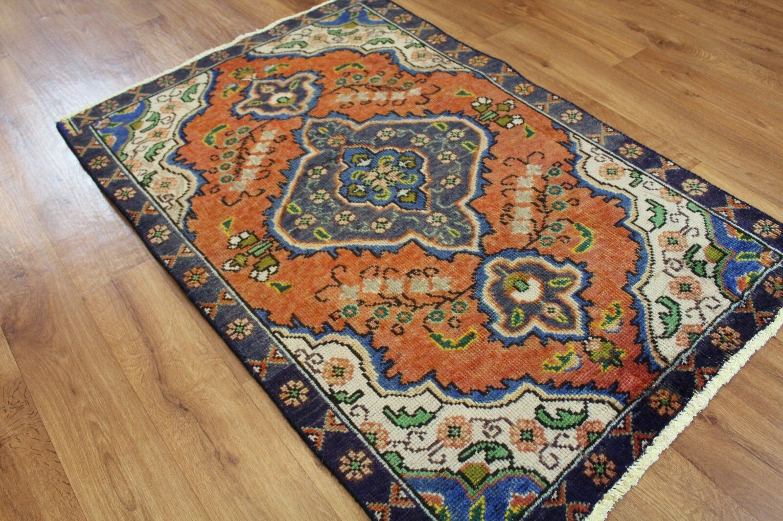 OLD OLD OLD WOOL HAND MADE  ORIENTAL FLORAL RUNNER AREA RUG CARPET 140 X 93 CM 0114b8