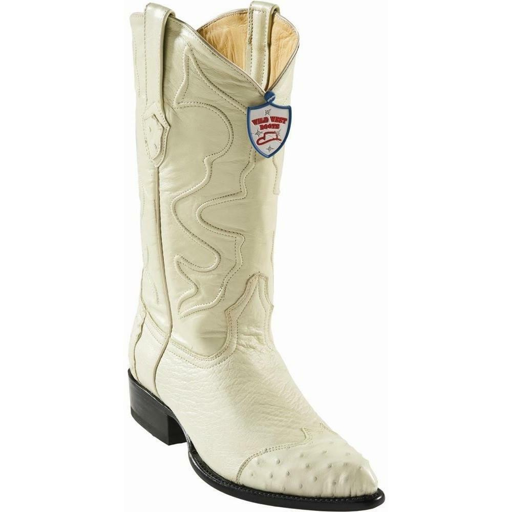 WILD WEST WINTER bianca GENUINE SMOOTH OSTRICH WESTERN COWBOY avvio J-TOE (D)
