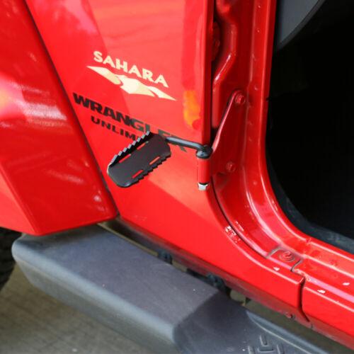 Pair Door Foot Pedal Rest Pedals Pegs For Jeep Wrangler  JK JL 2007-2018 Black F
