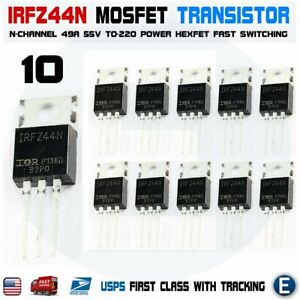 Details about 10pcs IRFZ44 IRFZ44N MOSFET Transistor N-Channel HEXFET Power  49A 55V Gate FET