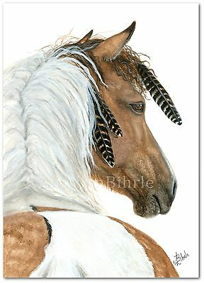 #94 Mustang Horse Native Feathers Pinto Dun Western ArT- BiHrLe Print 16x20