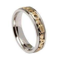 10K Yellow White Gold MO ANAM CARA Wedding Ring Band Size 8.5 Soul by Boru
