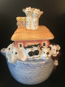 Noah-s-Ark-Cookie-Candy-Ceramic-Jar-Elephants-Giraffes-Monkeys-Bears-Zebras-Owl