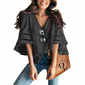Solid-V-Neck-Fashion-Tops-New-Blouse-Jumper-Elegant-T-Shirt-Top-Womens-Pullover