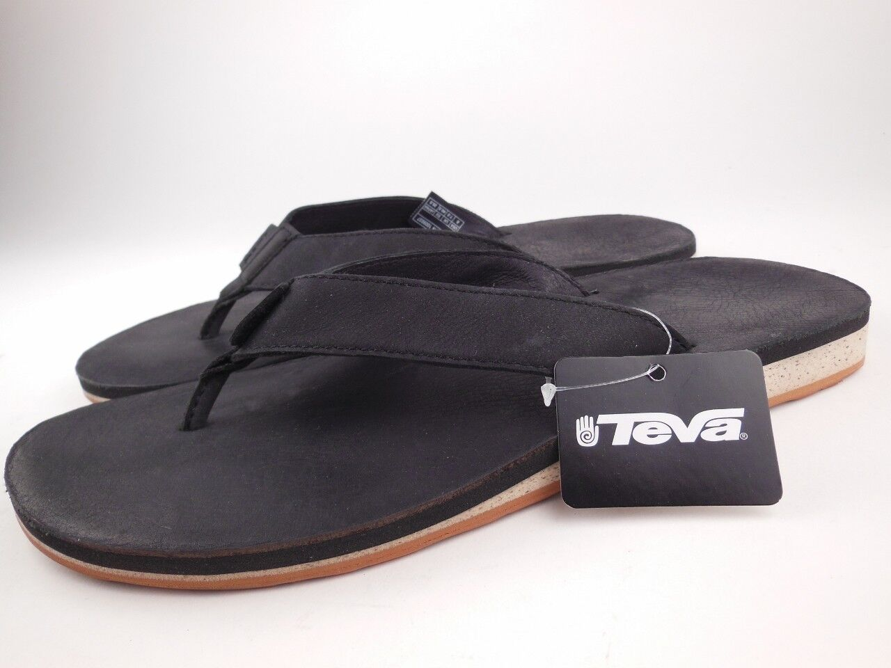 f51fe6e6731f79 Teva Classic Premium Leather Black Flip Flops Sandals Sz 8 for sale ...