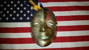 """Solid brass Mardi Gras style decorative painted mask wall hanging 6.25"""" x 4.5"""""""