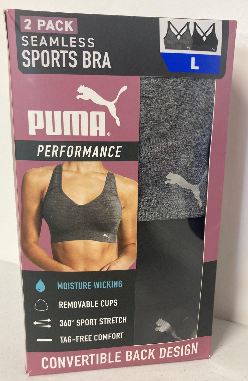PUMA Womens 2 Pack Seamless Sports Bra LARGE Convertible Back BLACK/GREY DryCell
