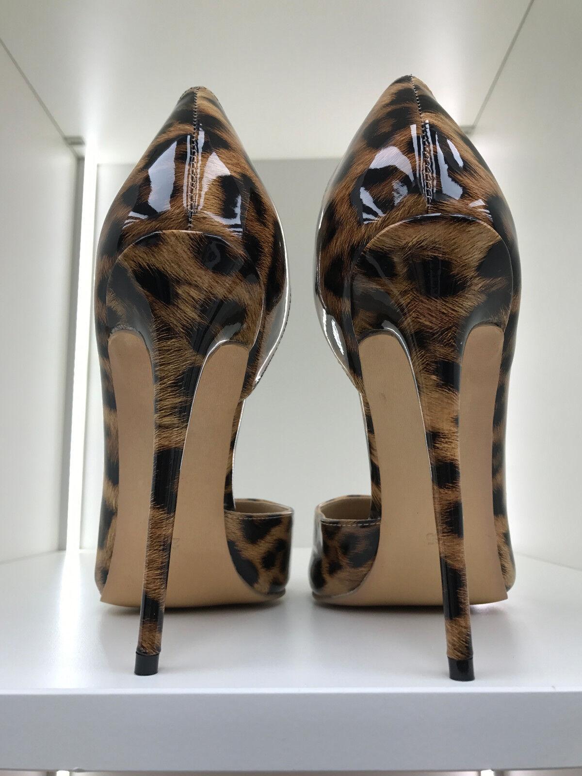 13cm Sexy sky high heels patent  leopard pumps low cut fetish high heels US12 43