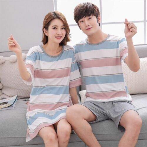 Couple Pajama Sets For Women/'s Short Sleeve Nightgowns Indoor Sleepwear Thin New